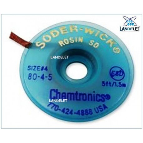 TRECCIA DISSALDANTE FLUSSATA NO CLEAN CHEMTRONICS 8045 SW80-4-5 TRECCINA IN RAME