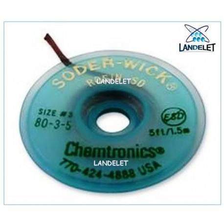 TRECCIA DISSALDANTE FLUSSATA NO CLEAN CHEMTRONICS 8035 SW80-3-5 TRECCINA IN RAME